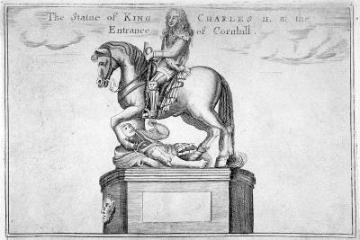 Statue of Charles II at the Entrance of Cornhill in the Stocks Market, Poultry, London, 1740--Giclee Print