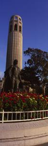 Statue of Christopher Columbus in Front of a Tower, Coit Tower, Telegraph Hill, San Francisco, C...