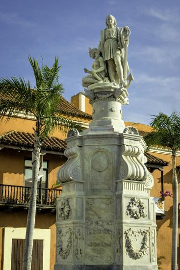 Statue of Christopher Columbus, Old City, Cartagena, Colombia-Jerry Ginsberg-Photographic Print