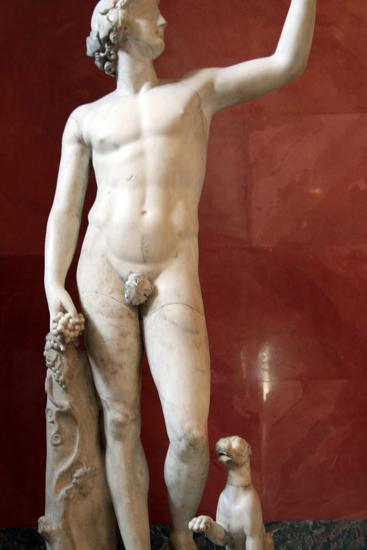Statue of Dionysus, God of Wine and Patron of Wine Making--Photographic Print