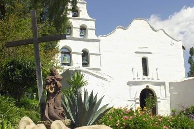 Statue of Father Junipero Serra in Front of San Diego Mission, First of the Spanish Missions in CA--Photographic Print