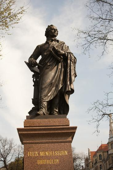 Statue of Felix Mendelssohn, St Thomas Church, Church of Bach, Leipzig, Germany-Dave Bartruff-Photographic Print