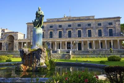 Statue of Frederick Adam in Front of the Palace of St. Michael and St. George, Greek Islands-Neil Farrin-Photographic Print