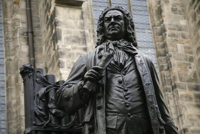 Statue of J. S. Bach, Courtyard of St. Thomas Church, Leipzig, Germany-Dave Bartruff-Photographic Print