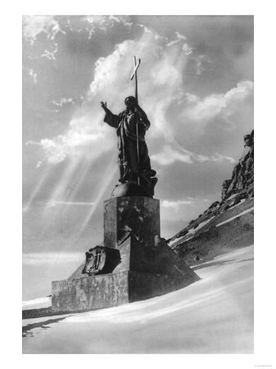 Statue of Jesus Christ in the Andes Photograph - Argentina-Lantern Press-Art Print