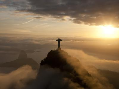 Statue of Jesus, known as Cristo Redentor (Christ the Redeemer), on Corcovado Mountain in Rio De Ja-Peter Adams-Premium Photographic Print