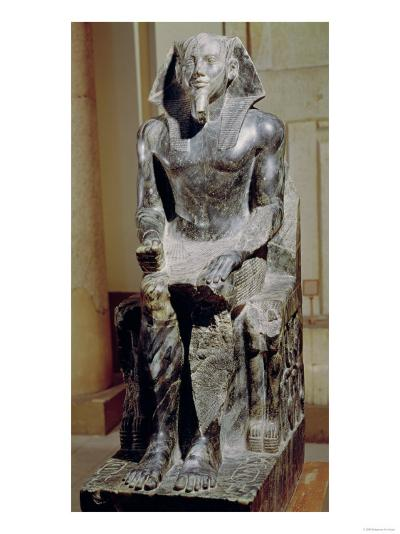 Statue of Khafre (2520-2494 BC) Enthroned, from the Valley Temple of the Pyramid of Khafre at Giza--Giclee Print
