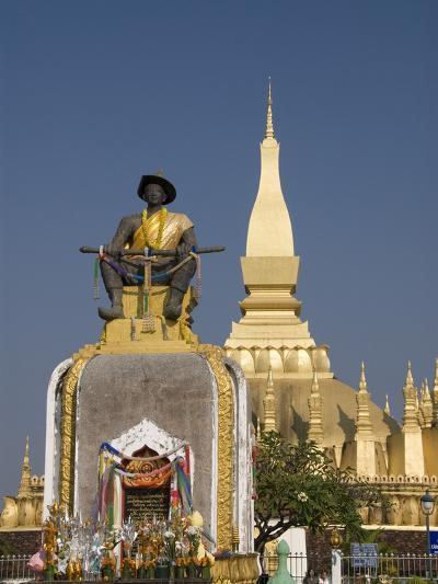 Statue of King Setthathirat with Pha That Luang in the Background, Vientiane, Laos, Indochina, Sout-Richard Maschmeyer-Photographic Print