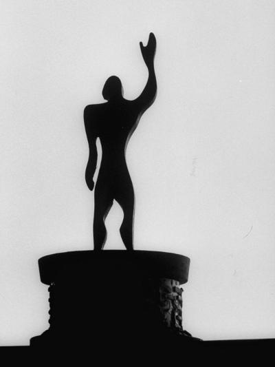 """Statue of """"Le Modulor,"""" by Le Corbusier's Ratio of Architectural Design in Relation to Human Figure-James Burke-Photographic Print"""