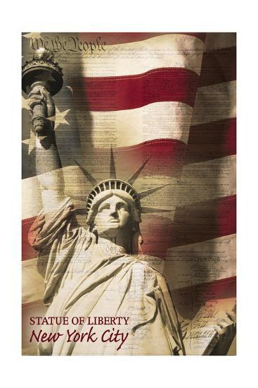 Statue of Liberty and Flag - New York City, New York-Lantern Press-Art Print