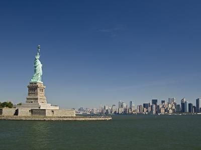 Statue of Liberty, Liberty Island and New York Skyline-Tom Grill-Photographic Print