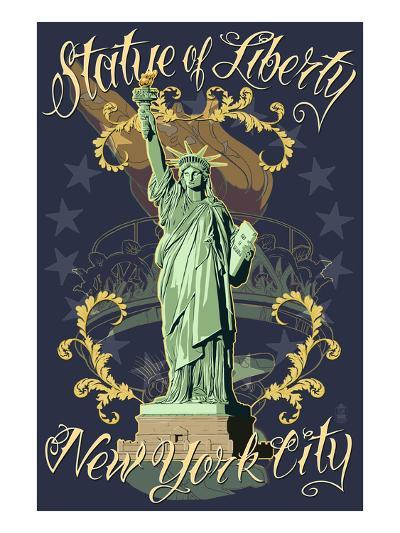 Statue of Liberty National Monument - New York City, NY - Blue-Lantern Press-Art Print