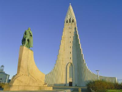 Statue of Liefur Eiriksson and the Hallgrimskikja Church, Reykjavik, Iceland, Polar Regions-Simon Harris-Photographic Print