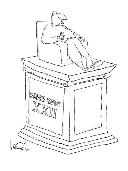 Statue of man sitting in an armchiar with beer and a cigarette with the in? - New Yorker Cartoon-Arnie Levin-Premium Giclee Print