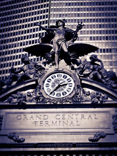 Statue of Mercury and Clock on the 42nd Street Facade of Grand Central Terminus Station, Manhattan,-Gavin Hellier-Photographic Print