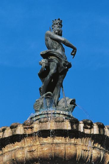 Statue of Neptune on Top of Fountain of Neptune--Giclee Print