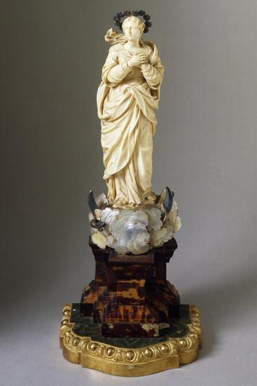 Statue of Our Lady on Cloud, with Snake and Crescent Moon, Ivory, Mother of Pearl and Tortoiseshell--Giclee Print