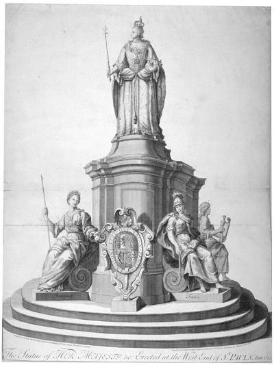 Statue of Queen Anne Erected as a Celebration of the Completion of St Paul's Cathedral, 1713--Giclee Print