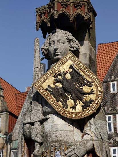Statue of Roland, Market Square, UNESCO World Heritage Site, Bremen, Germany, Europe-Hans Peter Merten-Photographic Print