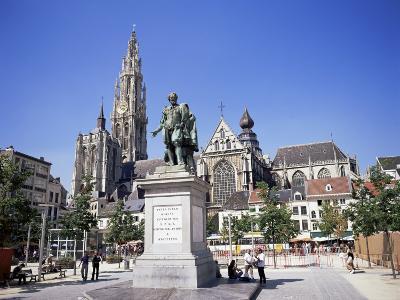 Statue of Rubens, Cathedral, and Groen Plaats, Antwerp, Belgium-Richard Ashworth-Photographic Print