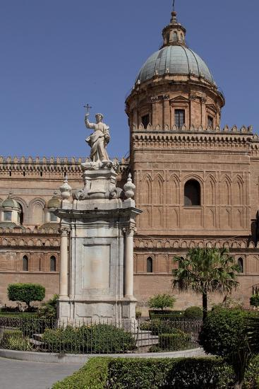 Statue of Saint Rosalia in Front of Palermo Cathedral, Sicily--Photographic Print