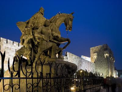 Statue of Saladin Stands in Front of the Citadel, Damascus, Syria-Julian Love-Photographic Print