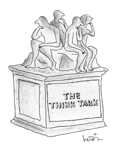 """Statue of several people thinking titled """"The Think Tank."""" - New Yorker Cartoon-Arnie Levin-Premium Giclee Print"""