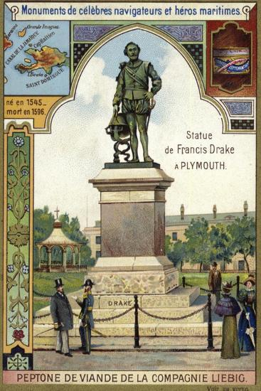 Statue of Sir Francis Drake, Plymouth--Giclee Print