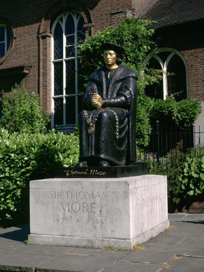Statue of Sir Thomas More in Front of Chelsea Old Church, Cheyne Walk, London-Peter Thompson-Photographic Print