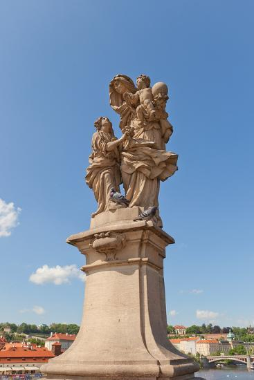 Statue of St. Anne (Mother of the Virgin Mary) on Charles Bridge- joymsk-Photographic Print