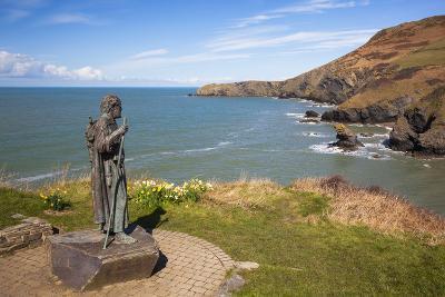 Statue of St. Carannog, Llangrannog Beach, Ceredigion (Cardigan), West Wales, Wales, UK-Billy Stock-Photographic Print