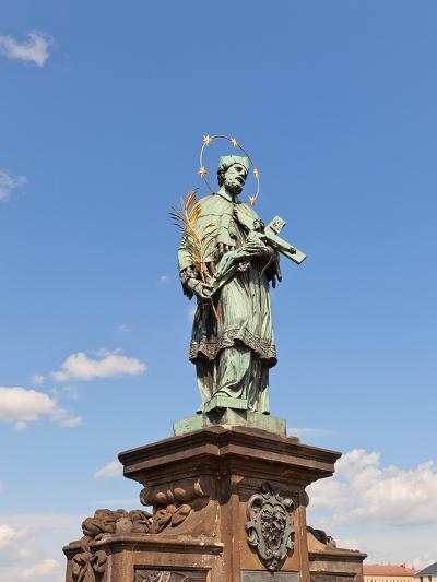 Statue of St. John of Nepomuk on Charles Bridge in Prague- joymsk-Photographic Print