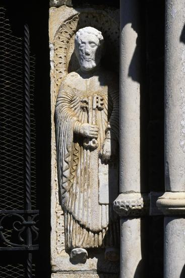 Statue of St. Peter, Entrance to Church of St. Mary Major, Tuscania, Lazio, Italy--Giclee Print