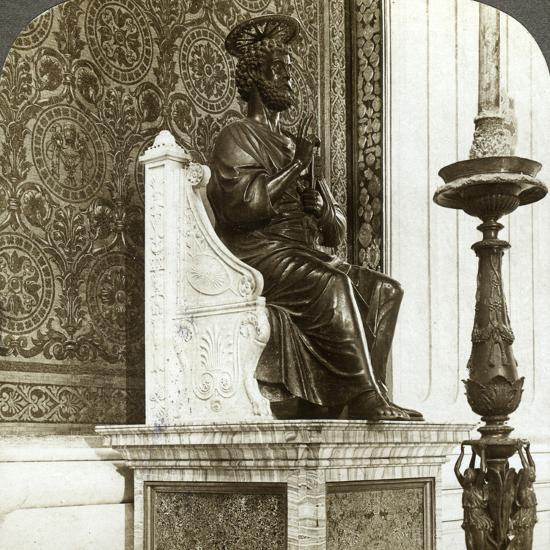 Statue of St Peter, St Peter's Basilica, Rome, Italy-Underwood & Underwood-Photographic Print