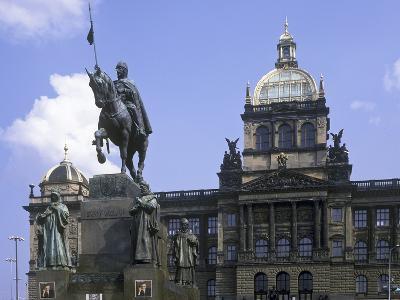 Statue of St. Wenceslas and the National Museum, Prague, Czech Republic--Photographic Print