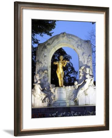Statue of the Composer Johann Strauss on the Strauss Memorial at Twilight, Innere Stadt, Austria-Richard Nebesky-Framed Photographic Print