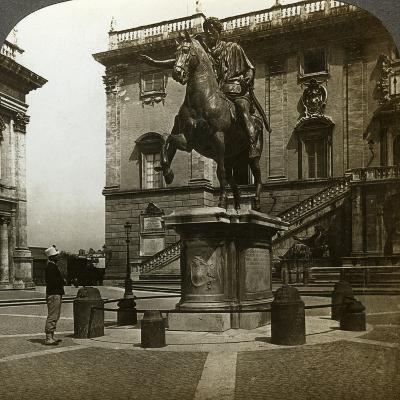 Statue of the Emperor Marcus Aurelius, Rome, Italy-Underwood & Underwood-Photographic Print