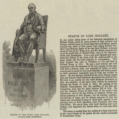 Statue of the Third Lord Holland, Holland Park, Kensington--Giclee Print