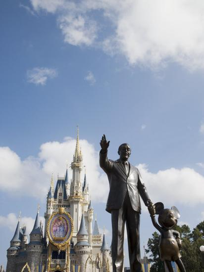 Statue of Walt Disney and Micky Mouse at Disney World, Orlando, Florida, USA-Angelo Cavalli-Photographic Print