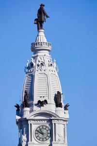 Statue of William Penn high atop City Hall in downtown Philadelphia, Pennsylvania