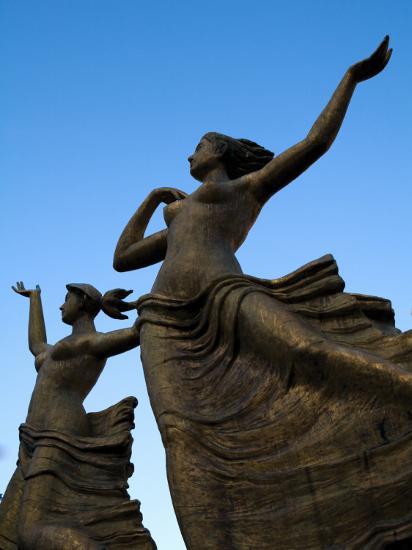 Statue of Women Outside Hiroshima Train Station-Antony Giblin-Photographic Print