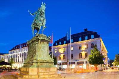 Statue on Ostra Larmgatan at Dusk, Gothenburg, Sweden, Scandinavia, Europe-Frank Fell-Photographic Print