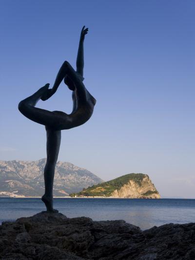 Statue Sillhouetted Against St. Nikola Island, Budva, Montenegro, Balkans, Europe-Gavin Hellier-Photographic Print
