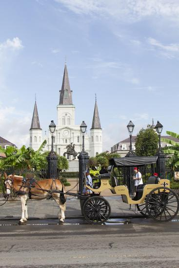 Statue, St. Louis Cathedral, Jackson Square, French Quarter, New Orleans, Louisiana, USA-Jamie & Judy Wild-Photographic Print