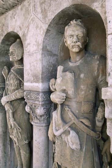 Statues at Fishermen's Bastion, on Varhegy Hill, Buda, Budapest, Hungary--Giclee Print