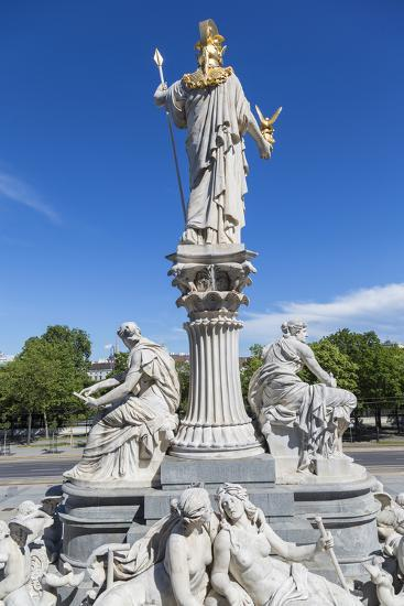 Statues in Front of Parliament Building, Vienna, Austria-Peter Adams-Photographic Print