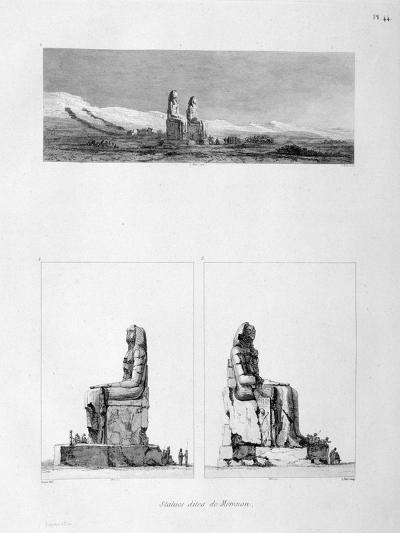 Statues of Memnon, Thebes, Egypt, C1808-L Petit-Giclee Print
