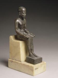 Statuette d'Imhotep, architecte et ministre de Djoser, portant une dédicace de Poumeh, fils de