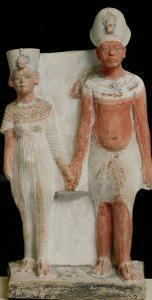Statuette of Amenophis IV (Akhenaten) and Nefertiti, from Tell El-Amarna, Amarna Period New Kingdom