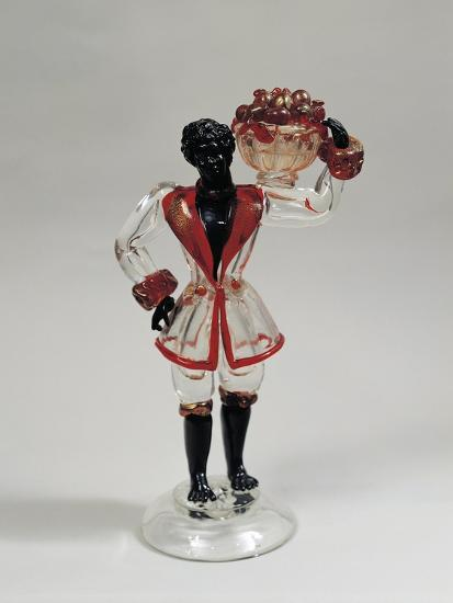 Statuette of Moor with Fruit Basket, Clear Blown Glass and Solid Glass, 1925-1930, Murano, Italy--Giclee Print